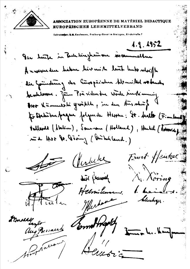 Worlddidac_foundation record original signed document 1952
