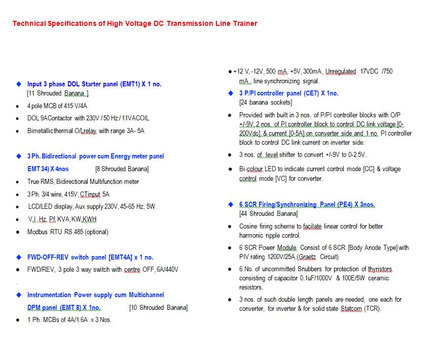 High Voltage DC transmission line Trainer (XPO-HVDC/TL