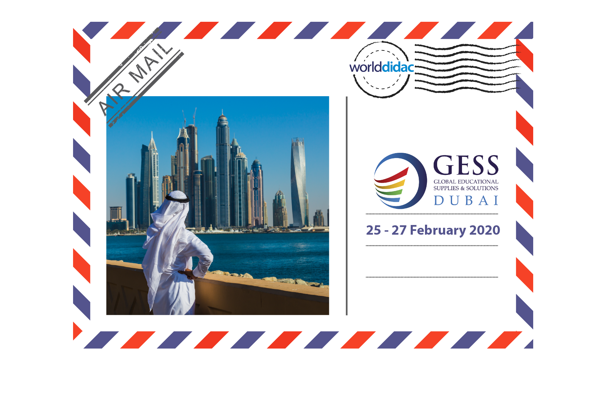 Air Mail GESS Dubai -logo and skyline of Dubai