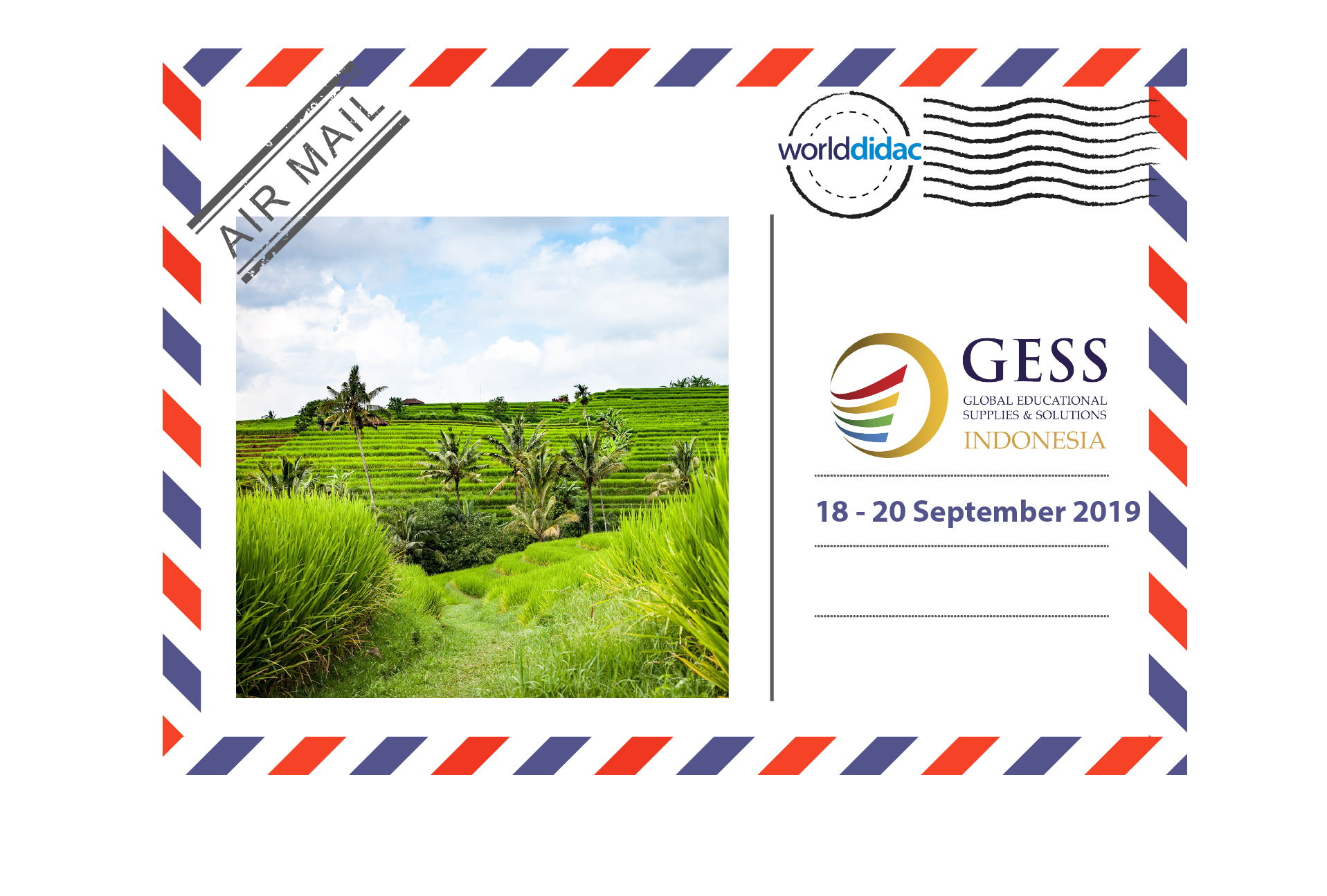 Air Mail GESS Indonesia - Logo and Picture of Rice Fields