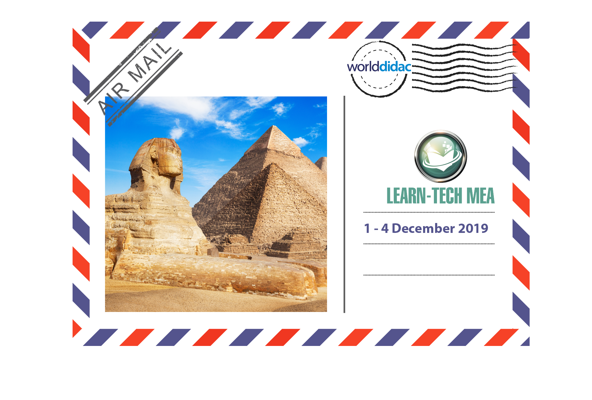 Air Mail Learn Tech MEA -Logo and Picutres of Pyramids